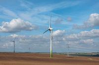 Wind electric generators on field.