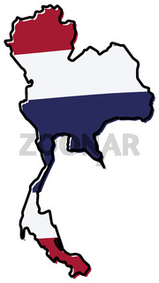 Simplified map of Thailand outline, with slightly bent flag under it.