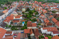 Old town of Juterbog from the height of the bell tower of the Church of St. Nicholas.