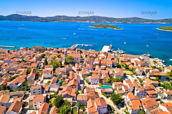 Biograd na Moru historic coastal town and Pasman island aerial view