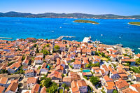 Biograd na Moru historic coastal town and Pasman island aerial view