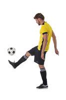 Soccer player kick ball