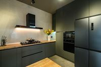 Modern large luxury dark gray kitchen closeup