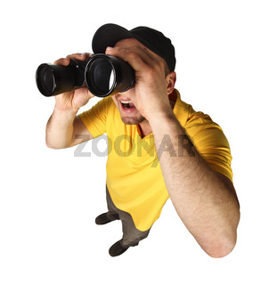 funny man with binoculars