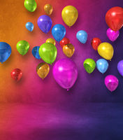 Colorful balloons group on a rainbow wall background