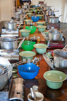 cookware on long table