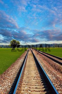 Railroad in field