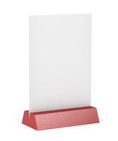 Wooden menu holder on white background