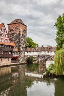 Maxbrucke bridge and Henkerturm tower in Nuremberg
