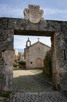 Monsanto historic stone village entrance with Santo Antonio chapel, in Portugal