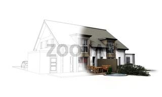 Doppelhaus Strichzeichnung