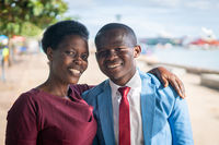 Black African man and woman happy portrait