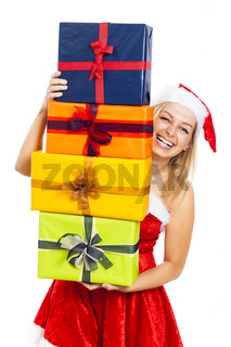 Laughing Santa woman with Christmas gifts