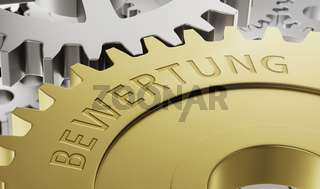 Metal gear wheels with the engraving Valuation in german - Bewertung - 3d render