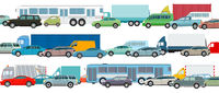 Rush hour, cars in traffic jam, vector illustration