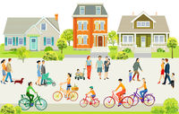Suburb With Pedestrians And Families On The Sidewalk Illustration