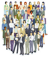 Business people standing together illustration, isolated on white background