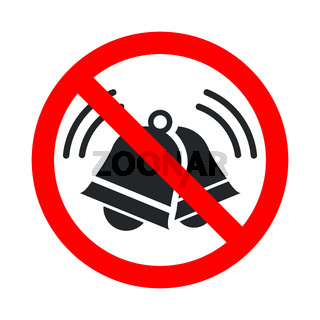 Noise not allowed, keep quiet red forbidden sign with ringing bells icon on white background