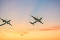 Plane propeller jet on blue sky