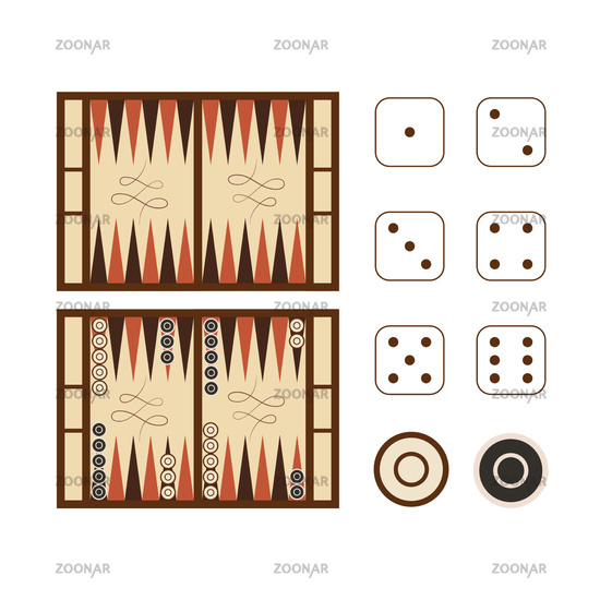 Classic backgammon game field with dice set on white