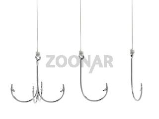 Fishing hooks isolated on white background. 3D illustration