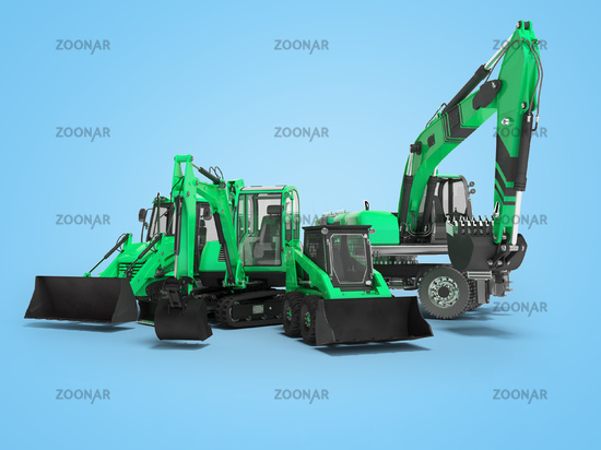 3d rendering green construction equipment concept on blue background with shadow