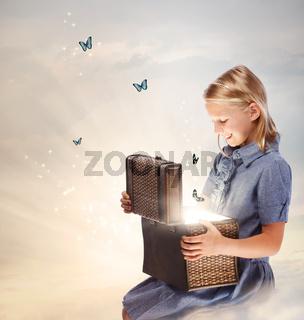 Blond Girl Opening a Treasure Box