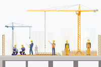 Concrete worker and structural engineer on the construction site, illustration
