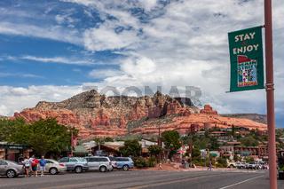 SEDONA, ARIZONA, USA - JULY 30 : View of Main Street in Sedona, Arizona, USA on July 30, 2011. Unidentified people