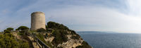 A panorama of the cliffs of Barbate and the Toore de Tajo tower