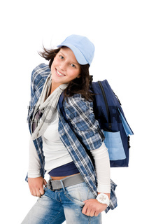 Smiling female teenager wear cool outfit schoolbag