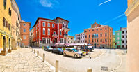 Town of Vodnjan main square colorful architecture panoramic view