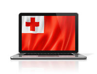 Tonga flag on laptop screen isolated on white. 3D illustration
