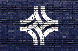 flag of Thornton, Colorado painted on brick wall