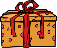 A gift box with a red ribbon on a neutral background . A holiday surprise, a purchase. Christmas, birthday or wedding