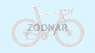 3D rendering of a racing bicycle bike isolated on light blue background