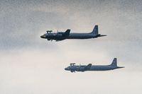 two anti-submarine aircraft Il-38 in flight