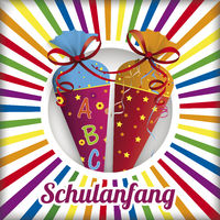 Schulanfang Candy Cones Retro Sun Hole Rainbow Colors
