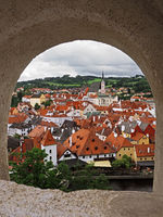 View of Èeský Krumlov (Czech Krumlov, a historic town located in southern Bohemia on theVltava rivert