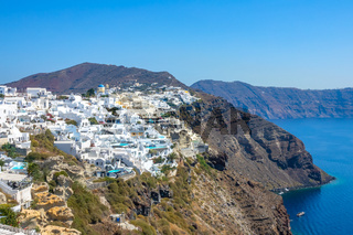 Rocky Caldera of Santorini and the Colorful Buildings in Oia