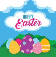 Happy Easter day poster with colorful eggs
