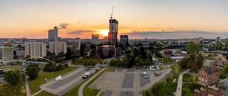 Katowice Landmarks Sunset Panorama