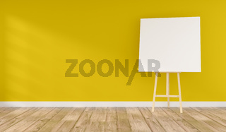 Wooden easel with a blank canvas in a yellow room