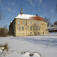 Luedinghausen Castle in winter, Luedinghausen, Muensterland, North Rhine-Westphalia, Germany, Europe