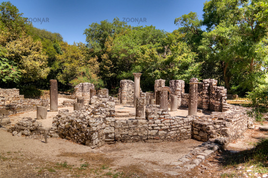 Panoramic view to Remains of the baptistery ruins of ancient town of Butrint , Sarande, Albania