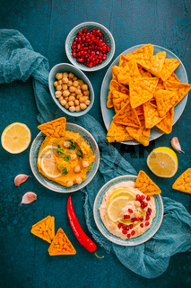 Homemade spicy humus with pomegranate seeds