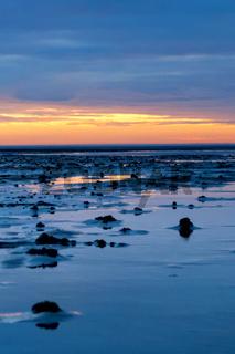 Blaue Stunde im Niedersächsischen Wattenmeer vor Cuxhaven Sahlenburg bei Ebbe, Deutschland