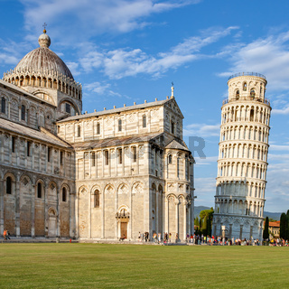 Pisa Cathedral and The Leaning Tower in the evening
