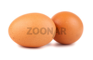 Pair of brown chicken eggs
