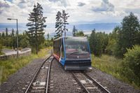 HIGH TATRAS, SLOVAKIA - AUGUST 2020: Cable railway from Stary Smokovec to Hrebienok 1,285m . Hrebienok is a popular tourist destination and a starting point for many tourist trails in High Tatras